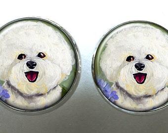 Bichon Frise Earrings ~ Cute Earrings ~ Dog Earrings ~ May Birthday ~ Silver Post Earrings ~ Teacher Gift