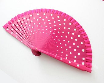 Hand Fans, hand fan, abanico,  Polkadots in pink and white dots