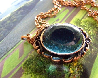 Steam punk Gothic High Dome German  blue glass mystical pendant on copper chain, cabochon pendant, sparkle, glitter, bohemian, gypsy