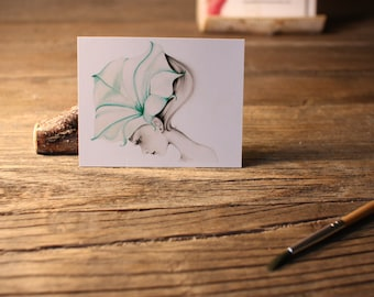 """ACEO Print Artist Trading Cards Fine Art ACEO Print of my original Artwork Collectible Mini Artwork She's Called """"Ephemeral"""" Gift For Her"""