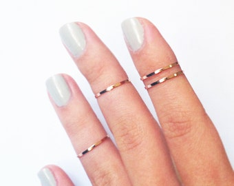 4 Above the Knuckle Rings - Rose Gold Midi Rings - thin Knuckle Rings, Rose gold  ring set