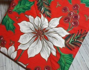 CHRISTMAS POINSETTIA Potholder Hot Pad