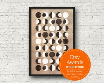 Moon Print, Moon Phases, Moon Wall Print, Moon Poster, Moon Prints, Moon Wall Art, Moon Phases Print, Moon Phases Poster, La Lune