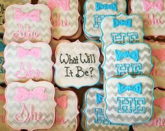 Gender reveal cookies (12 cookies)
