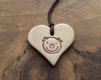 Happy pig necklace, beautiful handmade ceramic gift