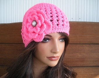 Womens Hat Crochet Hat Winter Fashion Accessories Women Beanie Hat in Hot Pink with Crochet Flower - Choose color