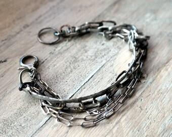 Raw Silver Bracelet, Hammered Multi Strand Bracelet, Oxidized chain bracelet, Sterling Silver