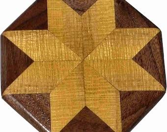 Satinwood-Walnut Quilt Block Pattern Weight