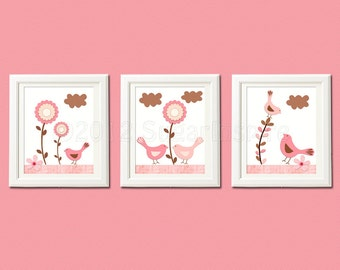 Pink and brown nursery art print set, 8x10, Baby wall art - Flowers, love birds, birdy, Punch color