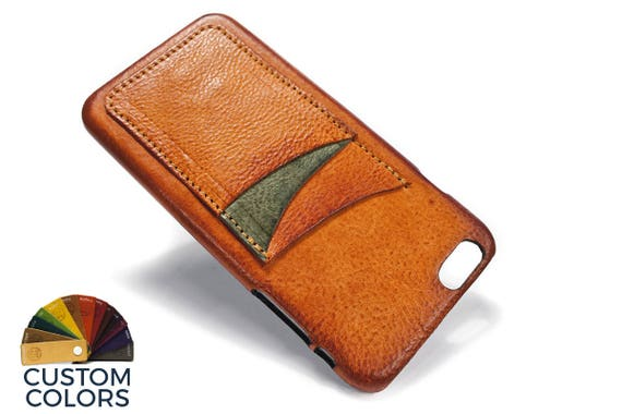 """NEW iPhone 8 or 7 or 6 all PLUS 5.5"""" leather credit card case (choose color of Accent) col BRANDY"""