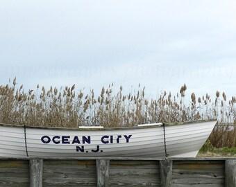 Ocean City Beach Photography, Lifeguard Boat Grey Beach Decor, Beach Prints, Nautical Decor Ocean Art, Beach Art, Coastal Wall Art OCNJ