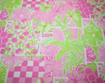 """Lilly Pulitzer fabric ~ MIZNER PATCH~ 18"""" by 18""""~ 100% cotton"""