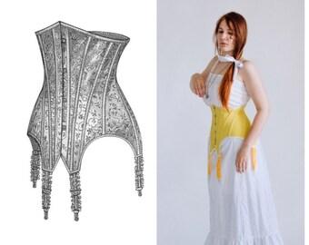 Underbust style Edwardian corset, 1900's Edwardian Corset in yellow pure silk, One-Layer Art-Nouveau Era Corset, Edwardian Clothing