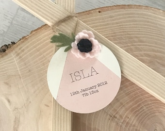 New baby hanging wooden disc gift