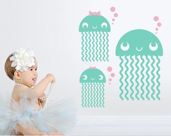 Jellyfish Wall Decals: Ocean Baby Nursery Under the Sea Cute Sea Life Underwater Beach Wall Sticker Kids Room Decor