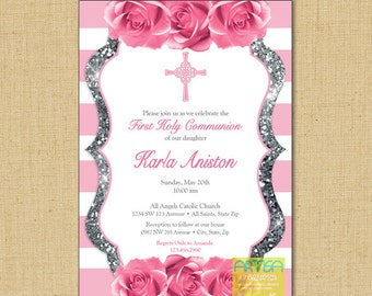 Girl First Communion Invitation, Pink roses gold glitter invitation, pink rose silver glitter First Communion, Pink SIlver Communion, Pink