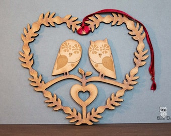 owl heart - owl wreath - love birds wreath