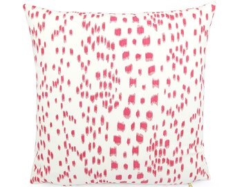 """Brunschwig Fils Les Touches Pink and White Pillow Cover, 18"""" 20"""" 22"""" Square Eurosham or Lumbar, Leopard Animal Print, Spotted Cushion Cover"""
