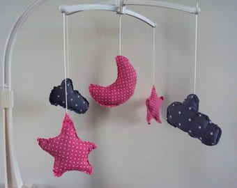 ON order/production time 10 complete musical mobile days - bed baby: Star - Moon-Pink-gray cloud ornament