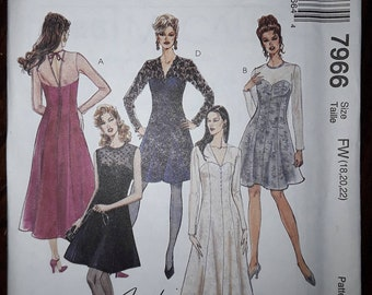 McCall's 7966 Dress Sewing Pattern Uncut, Misses'  Sizes 18, 20, 22 Petite-able, Two Lengths