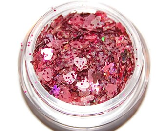 Pink Hearts Glitter Mix, Solvent Resistant, Glitter Mix, Pink Glitter, Raw Nail Glitter Mix, Nail Polish, Nail Art, Pink Glitter Mix, Hearts