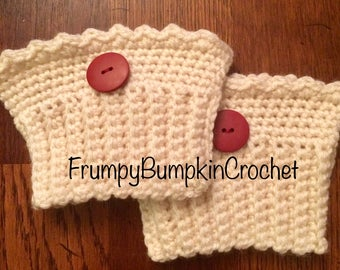 crochet boot cuffs- cream with red buttons