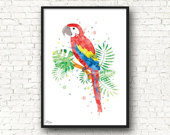 Parrot art, animal poster, bird watercolor, Parrot, room decoration nursery wall decoration, Christmas gift, birth gift