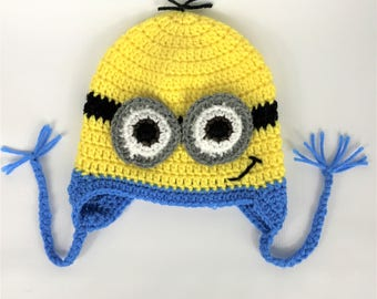 Minion inspired hat, Crochet beanie Hat, All Sizes, Baby, Child, Kid, Adult, Women, Men, Girl, Boy, unisex, free shipping, halloween hat