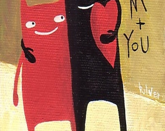 Cat ACEO Print - LOVE - Folk Art Valentine Red Heart Mini Print with Two Cats, Cute Red and Black Cat Artwork Illustration Trading Card