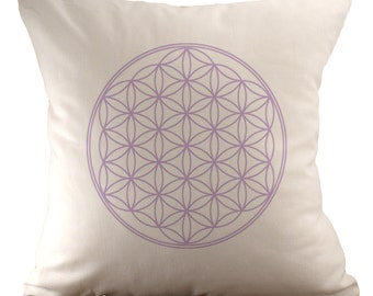 Flower of Life - 18x18 Pillow Cover - Choose Your Fabric & Font Colour