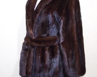 Brown Black Mink glistening fur RANCH MINK COAT size 12-14 with Mink Belt