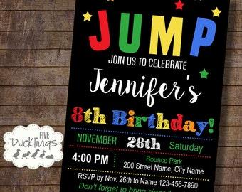JUMP Birthday party Invitation, Jump birthday invite, Printable Digital Invitation, A279