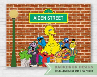 Sesame Street Background // Party Backdrop // DIGITAL FILE Only // This is NOT sold as physical product