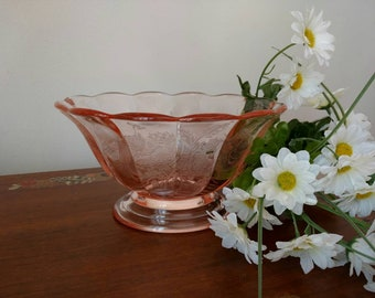 Vtg Paden City Pink Peacock and Wild Rose Etch Glass Footed Oval Bowl