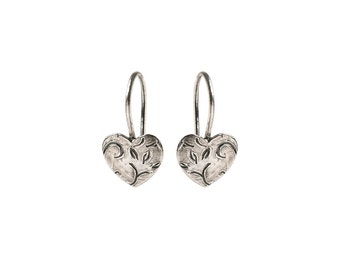 Women Dangle Earrings, Oxidized Sterling Silver Hart Earrings,Ornamented Earrings.