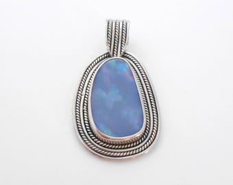 Silver sterling doublet Opal pendant /  unique item / silver  925 / Bali handmade jewelry / (#722m23)