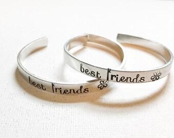Handstamped matching Best Friend cuff bracelets - Custom BFF bracelets - Best Friends Forever bracelet- Cuff bracelet set - Matching jewelry