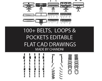 100+ Belts, loops and pockets for garment flat technical CAD drawings 15+ editable for fashion students and designers
