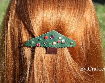 Christmas tree - Leather French hair barrette, Handmade Leather Hair clip, women Hair Accessory, hair fashion, green leather accessory