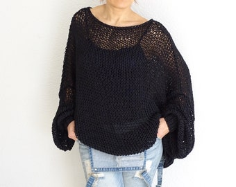 black long sweater, oversized sweater, cotton knit sweater, loose knit sweater, knit sweater,  black sweater, black tunic, women's sweater