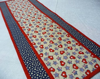 Patriotic Table Runner - Dresser Scarf - Table Runner - Red White and Blue - Ready to Ship