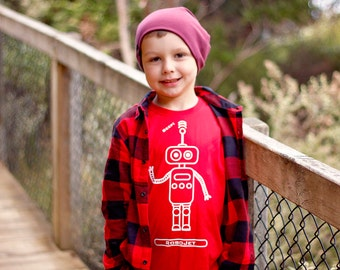 Kids Robot Shirt, Children shirt, customizable shirt, robot name shirt, toddler shirt, robot tee, child gift, personalized robot shirt