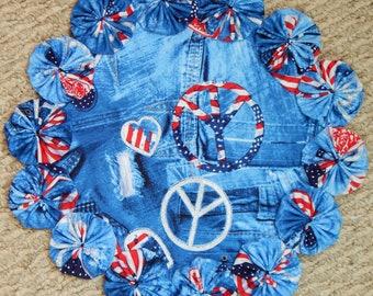 """Peaceful Patriotic Blue Jean Yo Yo Doily - 12"""""""