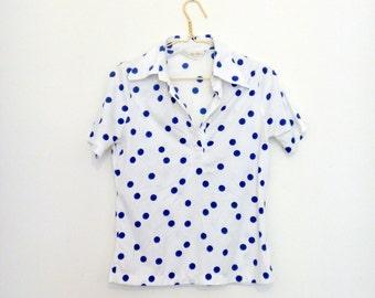 S/M Womens Polka dot short sleeve collared shirt