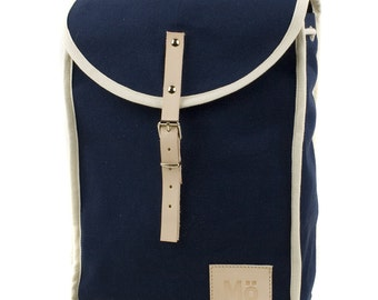 Navy Blue Heap Backpack, Retro, Vintage Inspired, Blue Canvas and Leather Bag, Cute, Women's Backpack