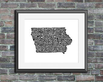 Iowa typography map art unframed print customizable personalized state poster custom wall decor engagement wedding housewarming gift