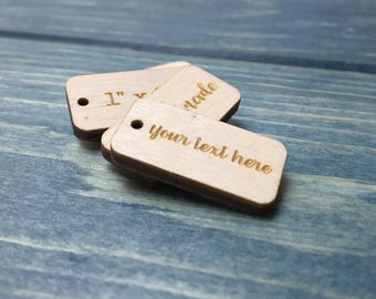 Etched Wood Tags, 1 inch x 0.5 inch, laser cut tags, custom wood tags. logo tags, logo gift tags, company tag, plywood tag, wooden hang tags