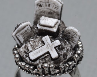 Horror Ring  - Creepy Old  Victorian Cemetery Style Cameo Ring with Tombstones - Zombie  Vampire