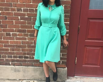Gorgeous 1970s Mint Green Dress