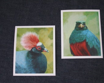 Set of 2 green/red bird prints - Giclée of original Acrylic Painting by Spring Hofeldt
